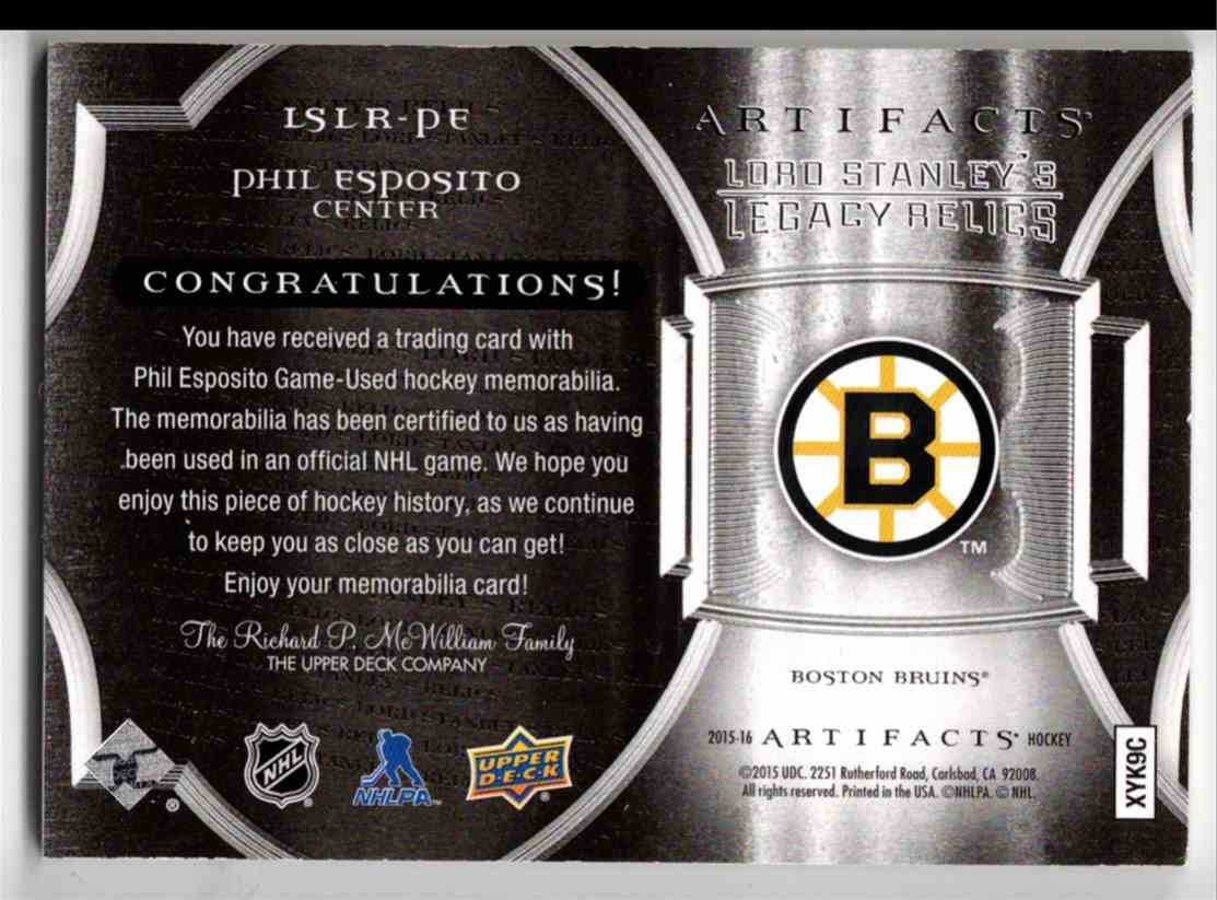 2015-16 Upper Deck Artifacts Lord Stanley's Legacy Relics Gold Phil Esposito #LSLR-PE card back image