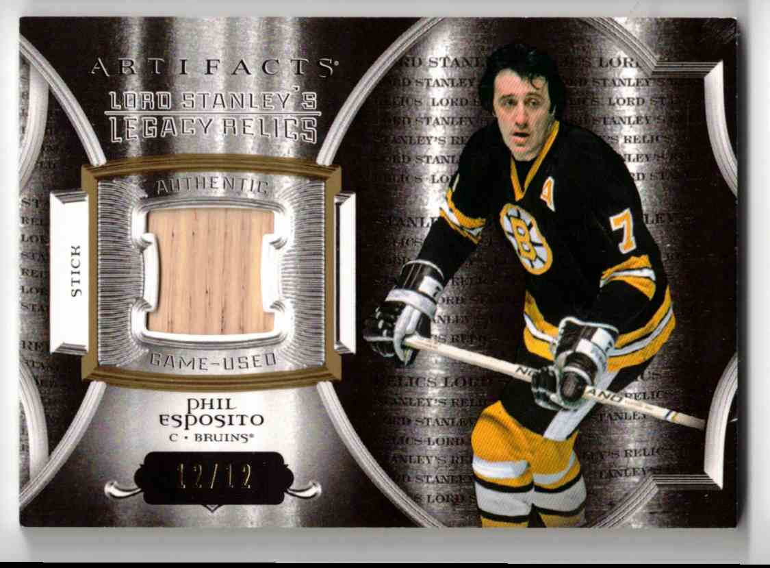 2015-16 Upper Deck Artifacts Lord Stanley's Legacy Relics Gold Phil Esposito #LSLR-PE card front image