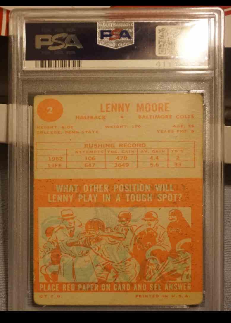 1963 Topps PSA DNA Lenny Moore card back image