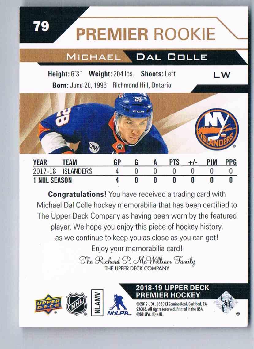 2018-19 Upper Deck Premier Michael Dal Colle #79 card back image