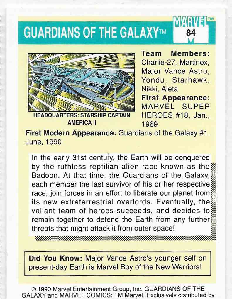 1990 Impel Marvel Guardians Of The Galaxy #84 card back image