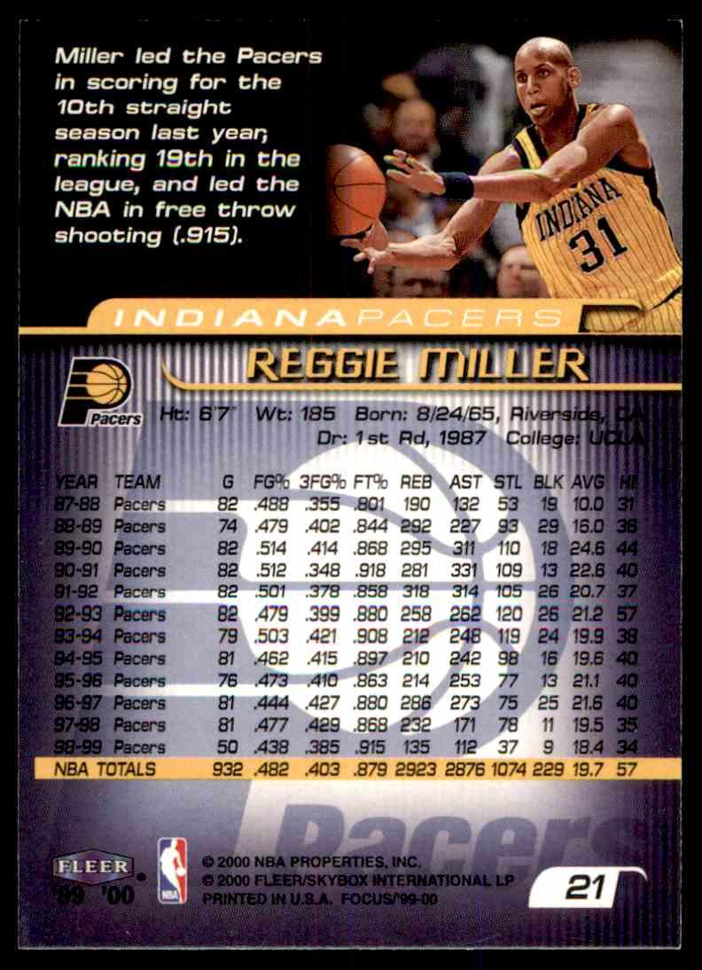1999-00 Fleer Skybox Basketball Reggie Miller #21 card back image