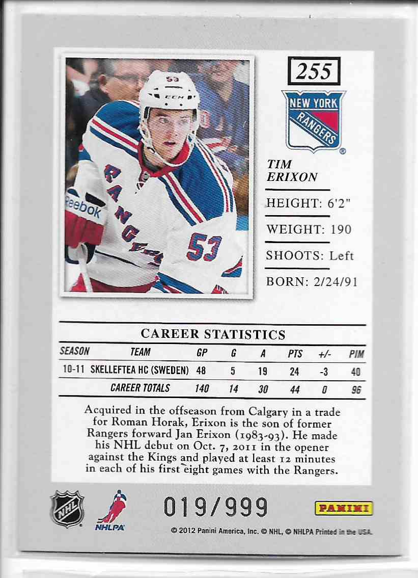2011-12 Panini Elite Tim Erixon #255 card back image