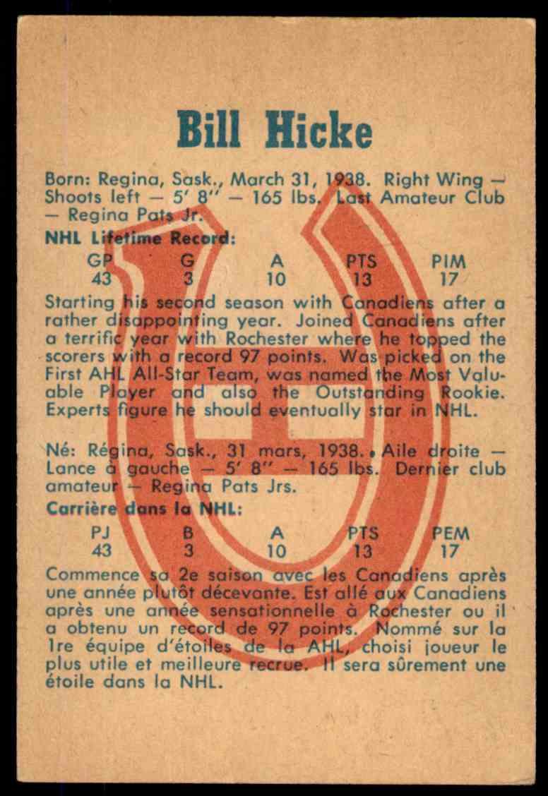 1960-61 Parkhurst Bill Hicke #40 card back image
