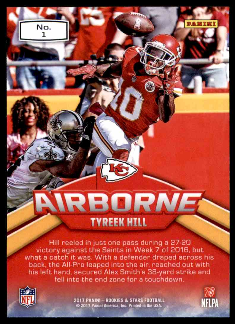 2017 Rookies And Stars Airborne Tyreek Hill #1 card back image