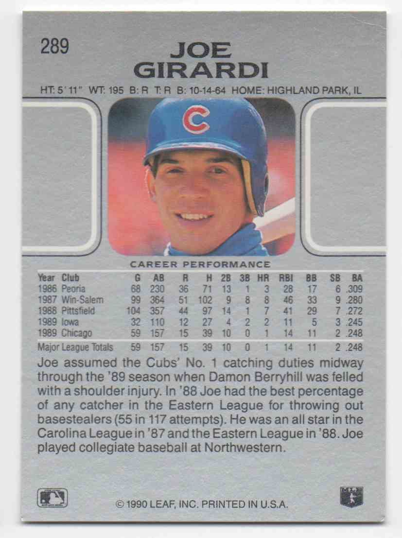 1990 Leaf Joe Girardi #289 card back image