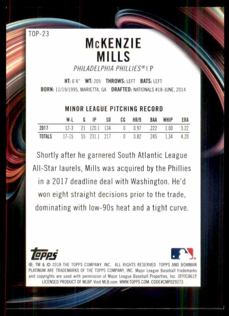 2018 Bowman Platinum Top Prospects Green McKenzie Mills #TOP-23 card back image