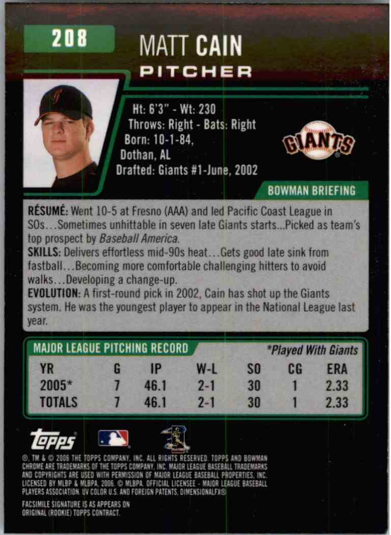 2006 Bowman Chrome Matt Cain #208 card back image