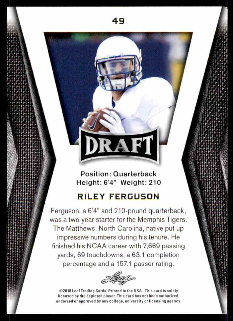 2018 Leaf Draft Riley Ferguson #49 card back image
