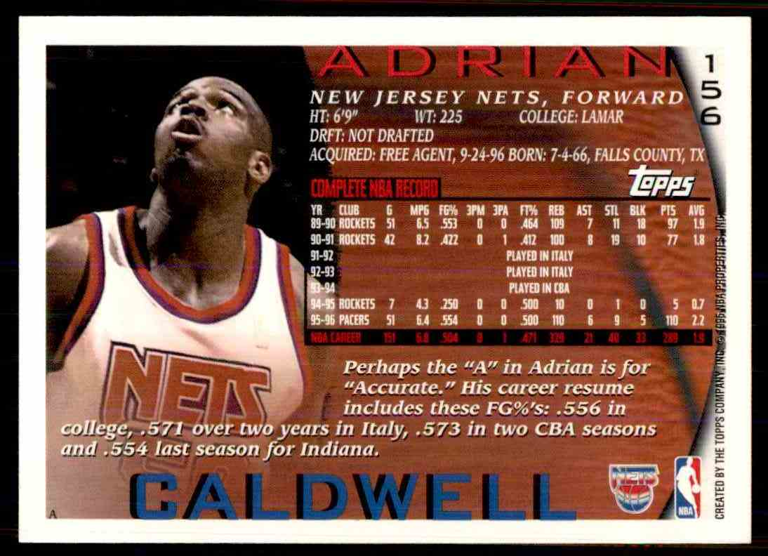 Real card back image 1995-96 Topps Adrian Caldwell #156 card back image