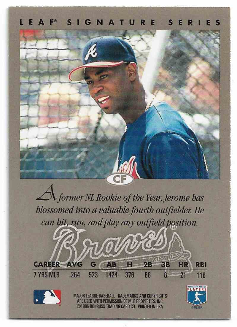 1996 Leaf Signature Series Jerome Walton #JEWA card back image