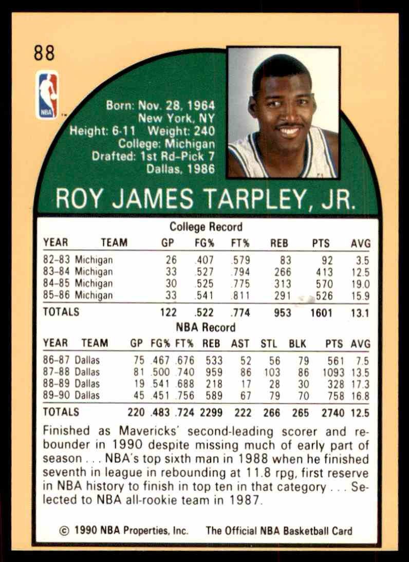 1990 91 NBA Hoops Roy Tarpley 88 on Kronozio
