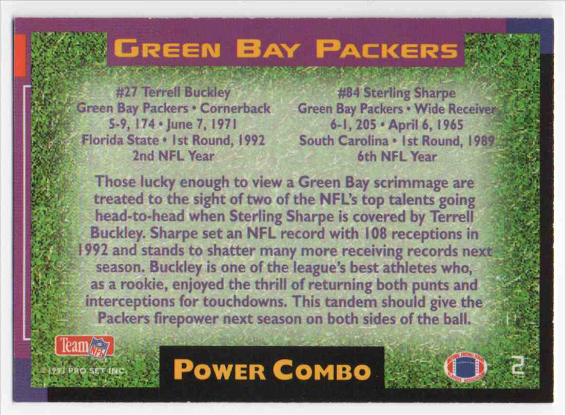 1993 Pro Set Power Power Combo Gold Sterling Sharpe #2 card back image