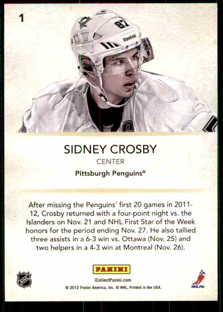 2012-13 Panini Promo Sidney Crosby #1 card back image