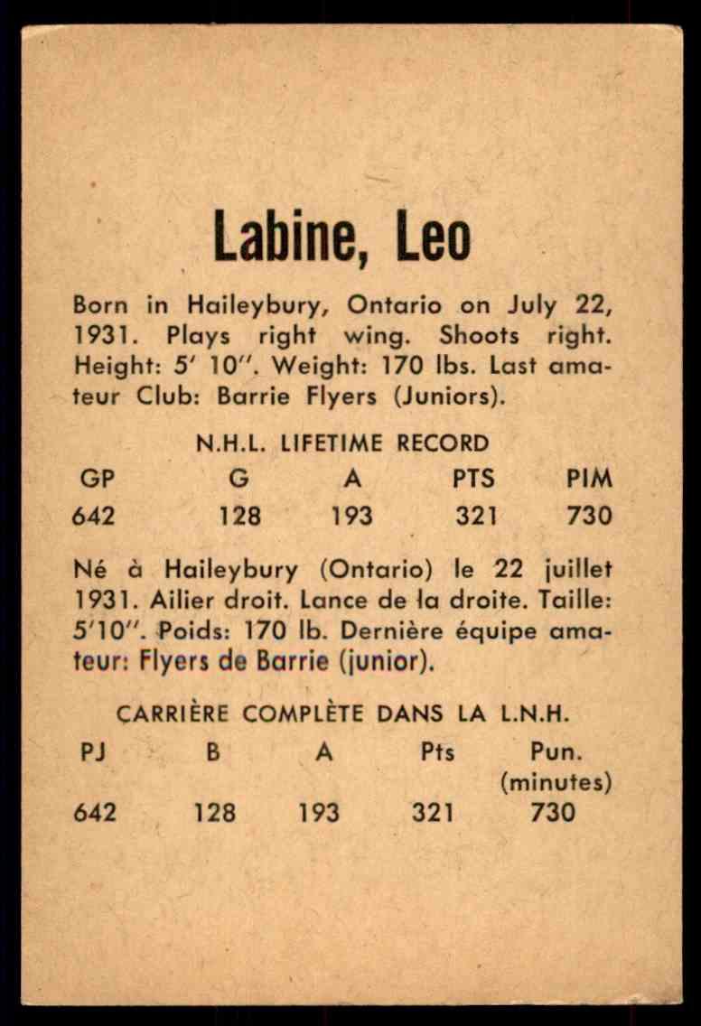 1962-63 Parkhurst Leo Labine #26 card back image