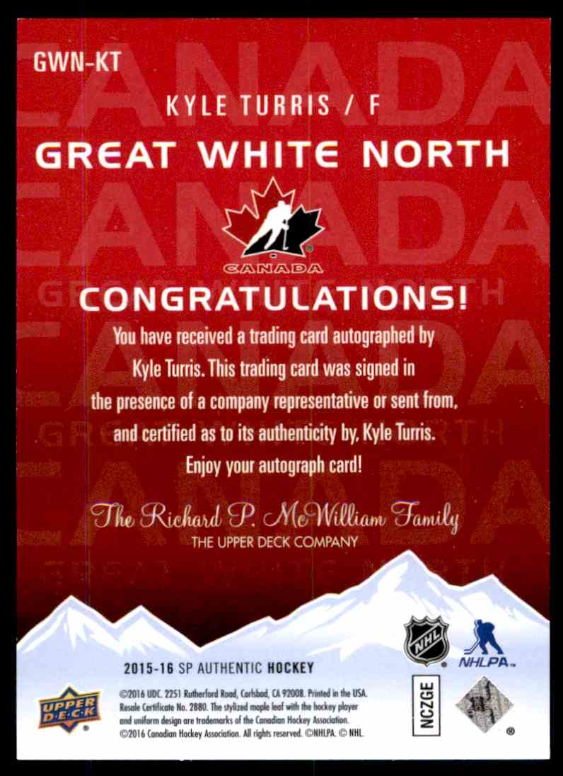 2015-16 Upper Deck SP Authentic Great White North Kyle Turris #GWN-KT card back image