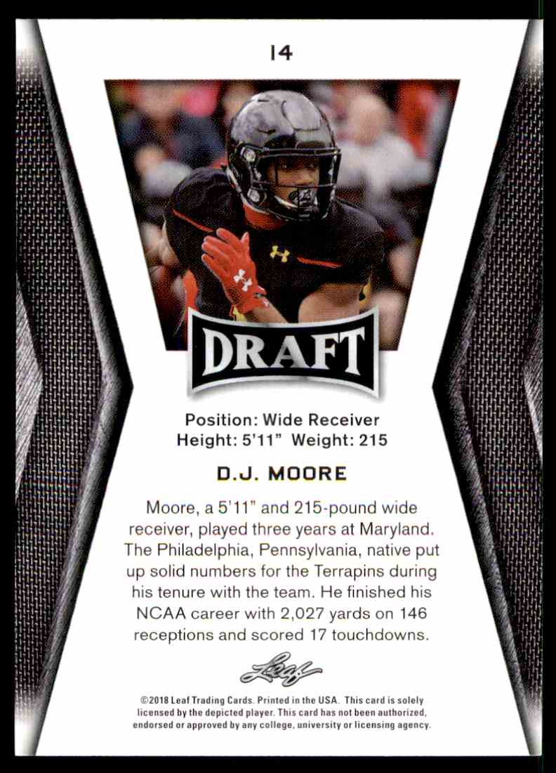2018 Leaf Draft D.J. Moore #14 card back image