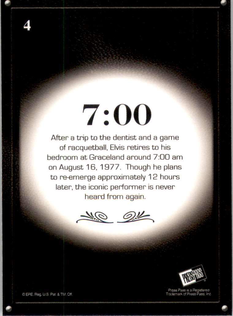 2008 Elvis By The Numbers 7:00 #4 card back image