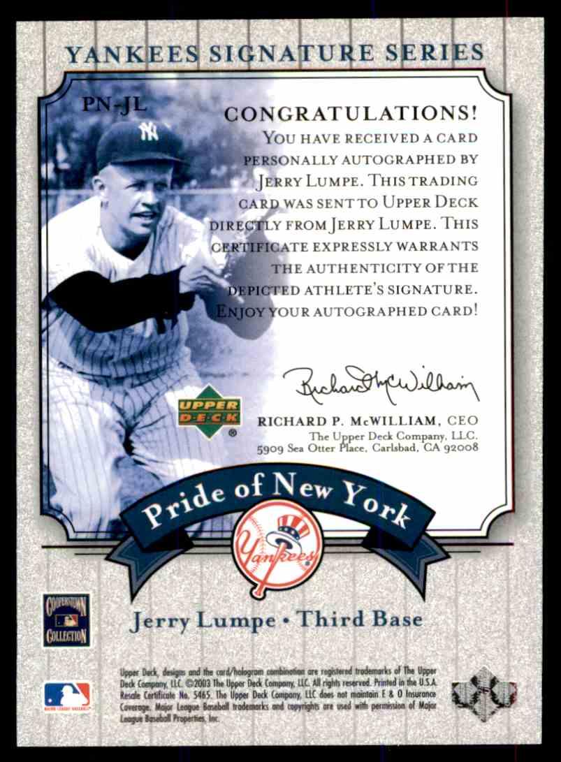 2003 Upper Deck Yankees Siganture Series Jerry Lumpe card back image