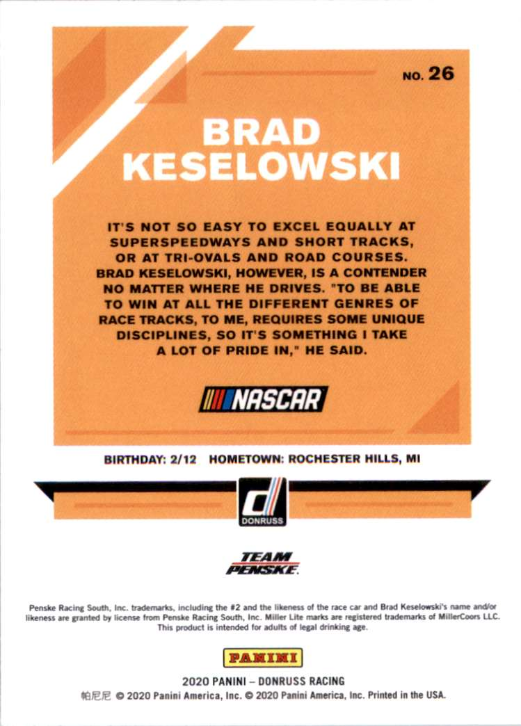 2020 Donruss Brad Keselowski #26 card back image