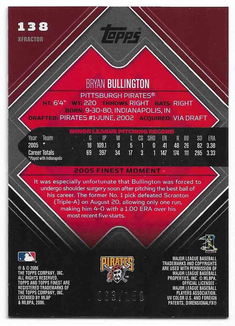 2006 Topps Finest Bryan Bullington #138 card back image