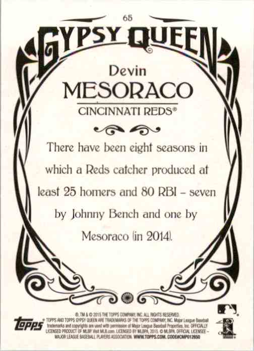 2015 Topps Gypsy Queen Devin Mesoraco #65 card back image