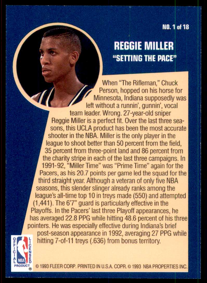 1992-93 Fleer Sharpshooters Reggie Miller #1 card back image
