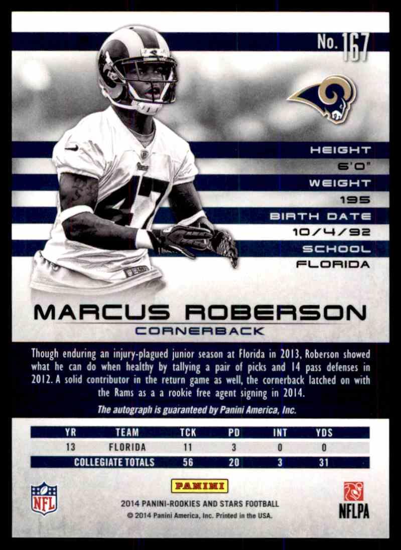 2014 Panini Rookies & Stars Longevity Marcus Roberson card back image