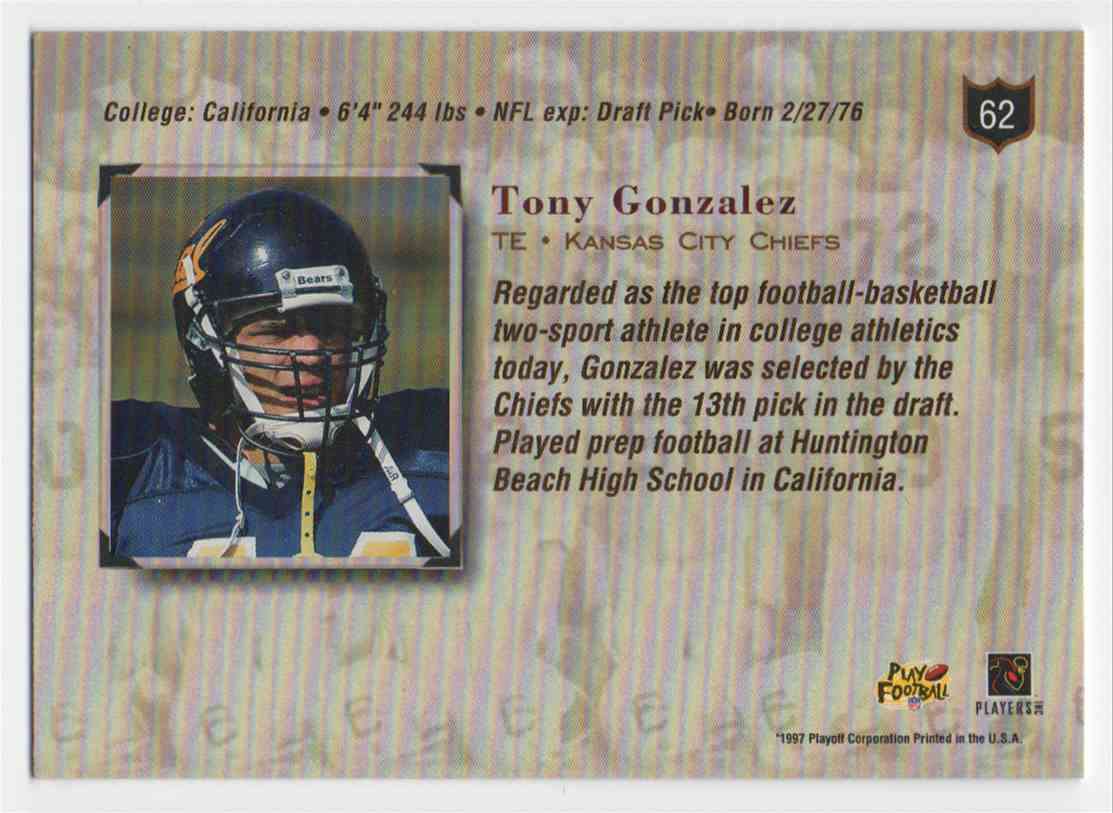 1997 Playoff Absolute Tony Gonzalez #62 card back image