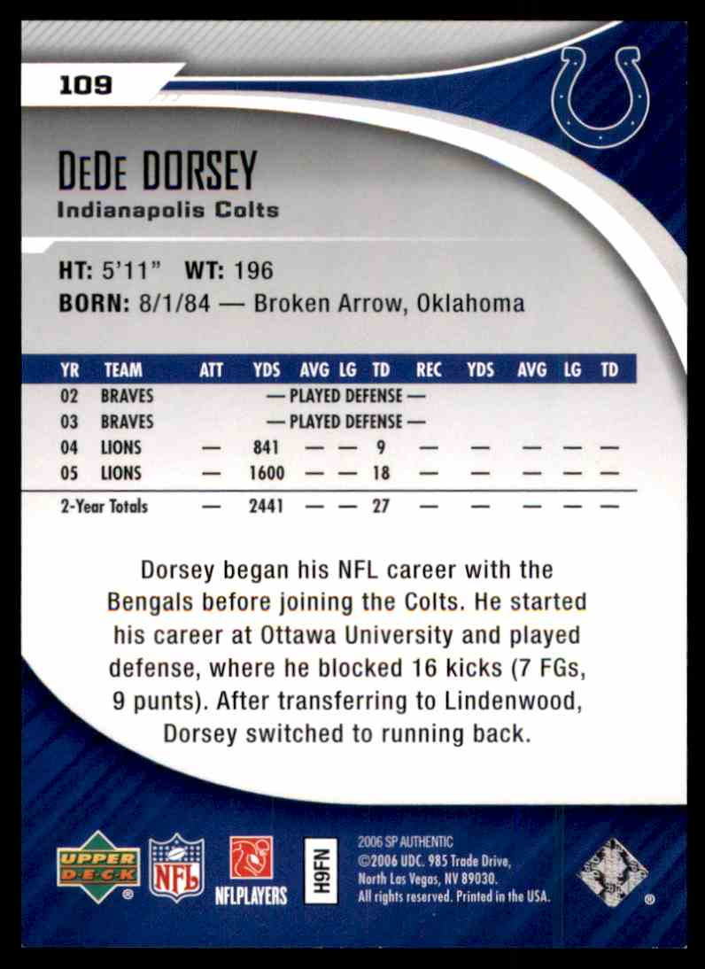 2006 SP Authentic DeDe Dorsey RC #109 card back image