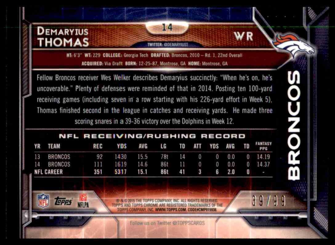 2015 Topps Chrome Sepia Refractor Demaryius Thomas #14 card back image