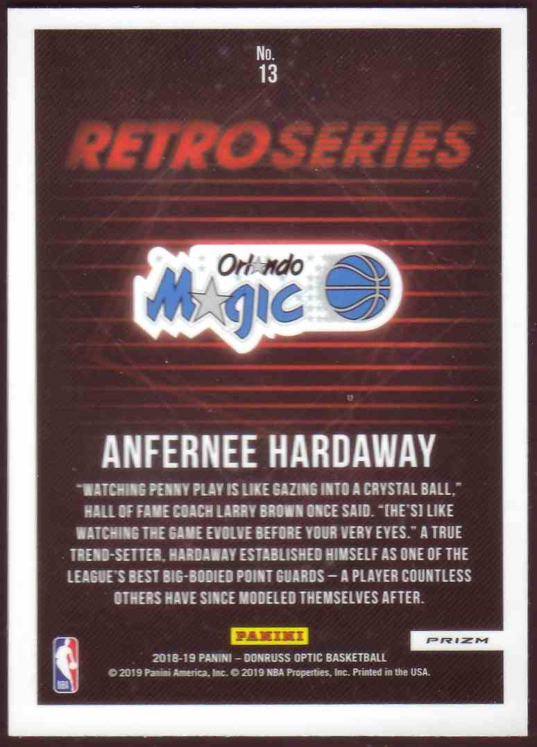 2018-19 Donruss Optic Retro Series Prizm Holo Anfernee Hardaway #13 card back image