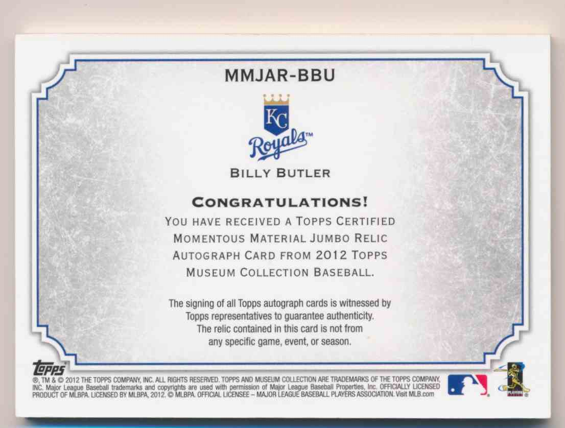 2012 Topps Museum Collection Billy Butler Jersey Patch #MMJAR-BBU card back image