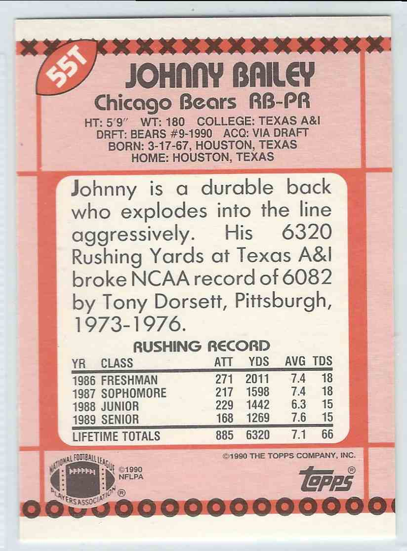 1990 Topps Traded Johnny Bailey #55T card back image