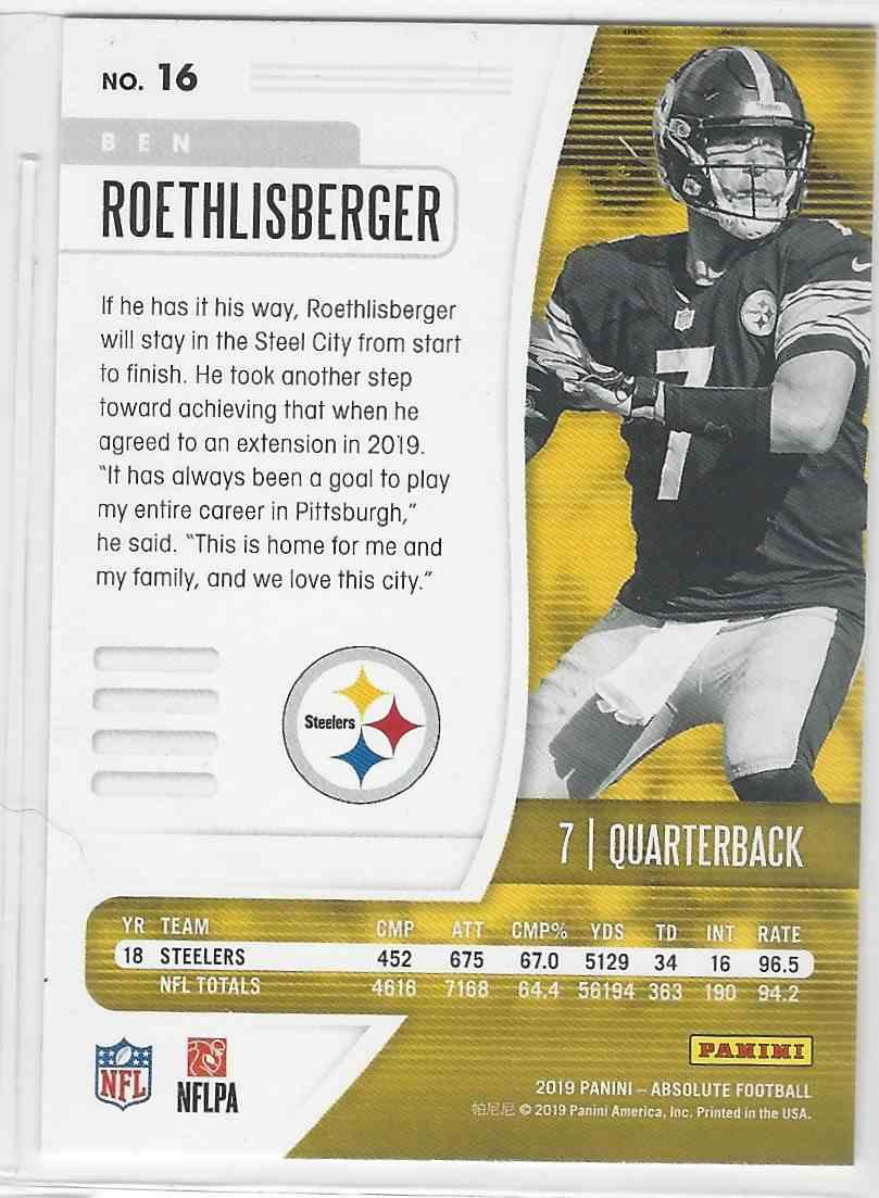 2019 Panini Absolute Ben Roethlisberger #16 card back image