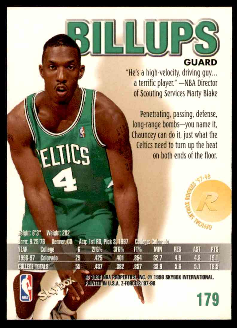 1997-98 Skybox Z Force Chauncey Billups #179 card back image