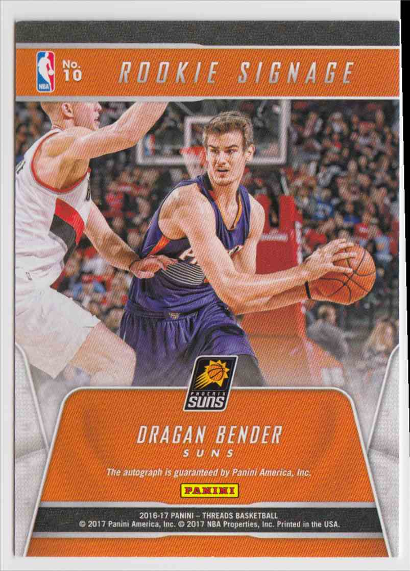 2016-17 Panini Threads Rookie Signage Dragan Bender #10 card back image