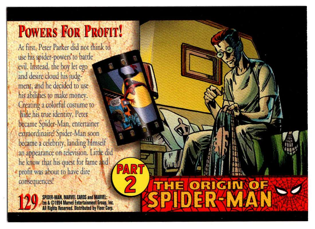 1994 Amazing Spider-Man Powers For Profit #129 card back image