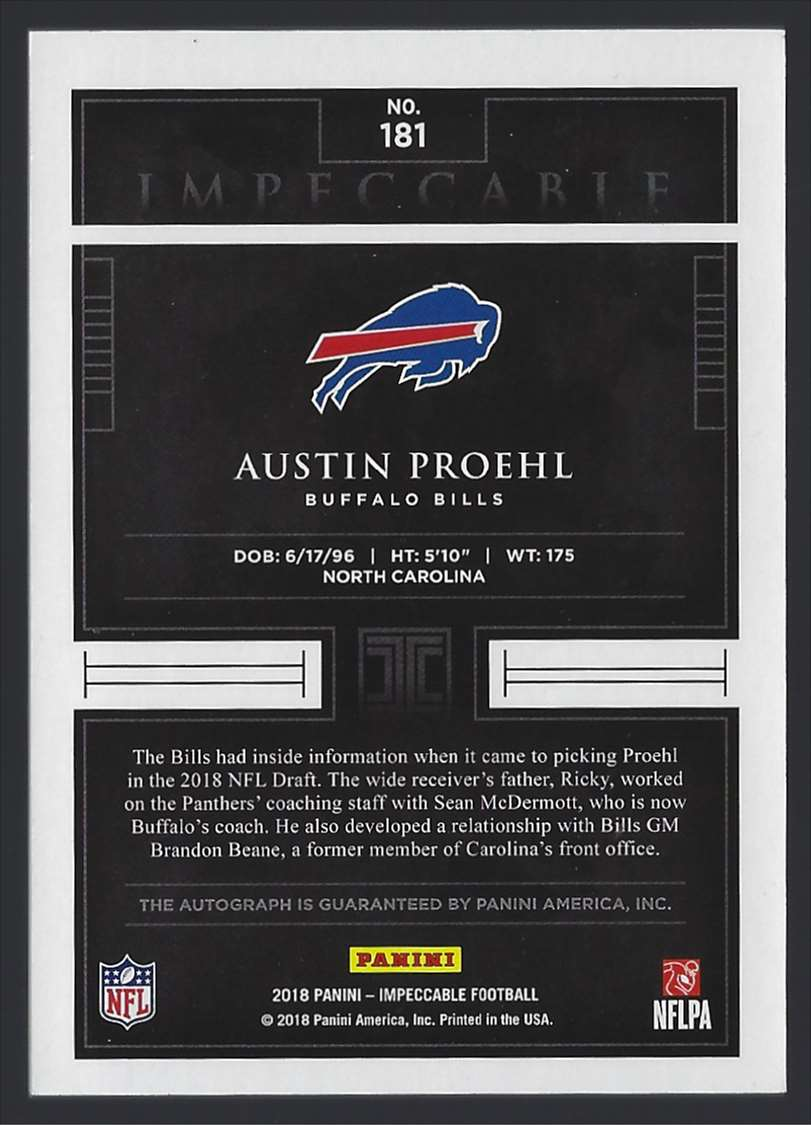 2018 Panini Impeccable Red Austin Proehl #181 card back image