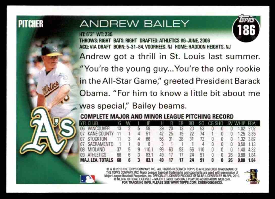 2010 Topps Andrew Bailey #186 card back image