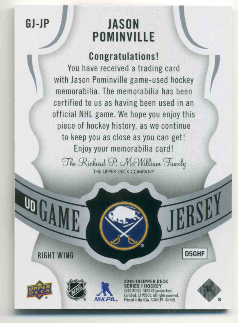 2018-19 Upper Deck Game Jerseys Jason Pominville #GH-JP card back image