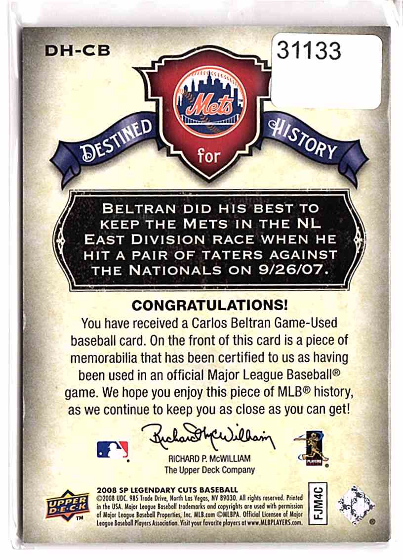 2008 SP Legendary Cuts Destined For History Memorabilia Carlos Beltran #DHCB card back image