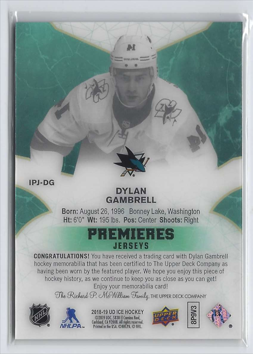 2018-19 Upper Deck Ice Ice Premieres Jerseys Dylan Gambrell #IPJDG card back image