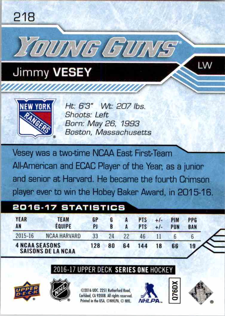 2016-17 Upper Deck Young Guns Jimmy Vesey #218 card back image