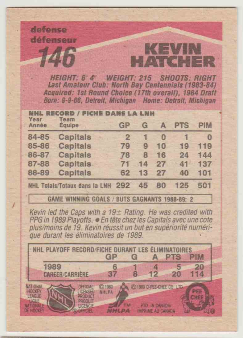 1989-90 O O-Pee-Chee Kevin Hatcher #146 card back image