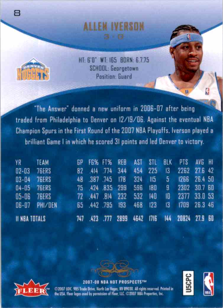 2007-08 Fleer Hot Prospects Allen Iverson #8 card back image
