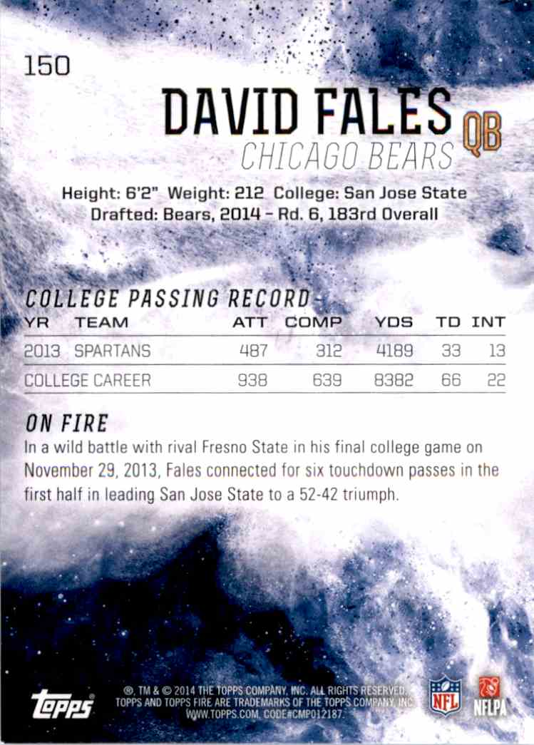 2014 Topps Fire David Fales RC #150 card back image