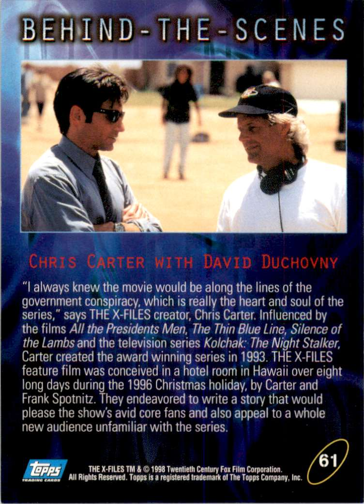 1998 X-Files Fight The Future Carter & Duhovny #61 card back image