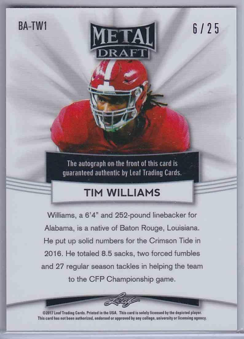 2017 Leaf Metal Draft Prismatic Purple Tim Williams #BATW1 card back image
