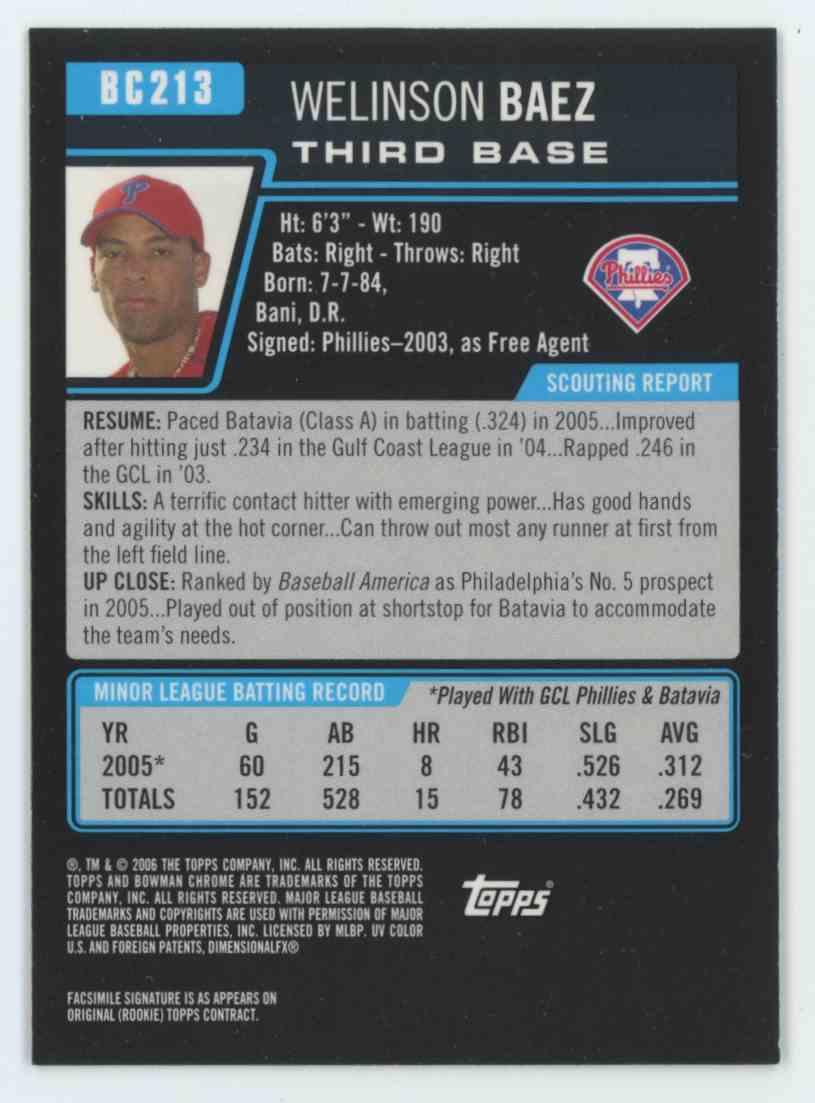 2006 Bowman Chrome Draft Prospects Welinson Baez #BC213 card back image
